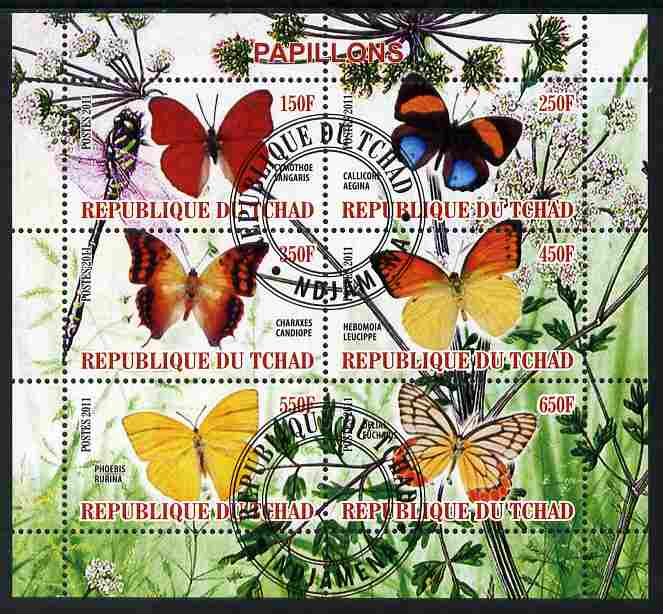 Chad 2011 Butterflies #6 perf sheetlet containing 6 values cto used