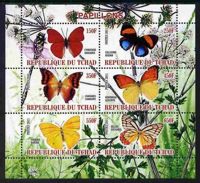 Chad 2011 Butterflies #6 perf sheetlet containing 6 values unmounted mint