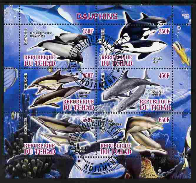 Chad 2011 Dolphins perf sheetlet containing 6 values cto used, stamps on marine life, stamps on whales, stamps on dolphins