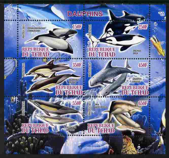 Chad 2011 Dolphins perf sheetlet containing 6 values unmounted mint