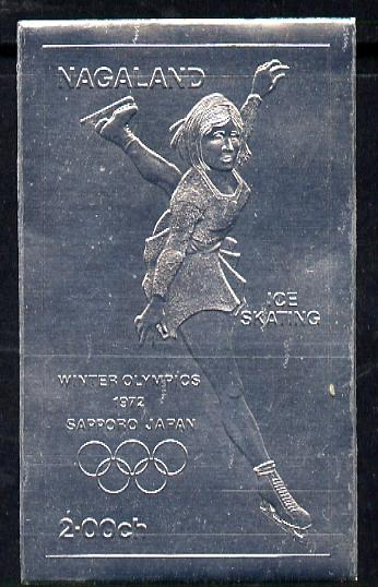 Nagaland 1972 Olympics (Ice Skating) 2ch value embossed in silver foil (imperf) unmounted mint