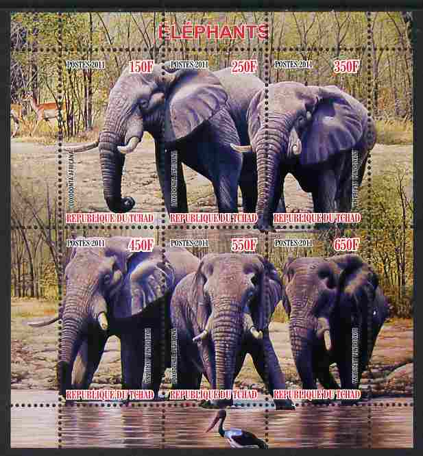 Chad 2011 Elephants perf sheetlet containing 6 values unmounted mint