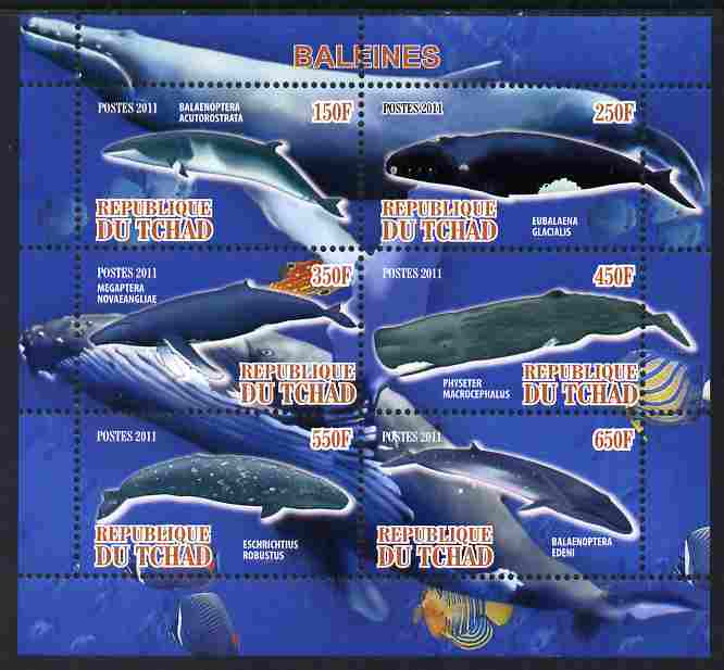 Chad 2011 Whales perf sheetlet containing 6 values unmounted mint