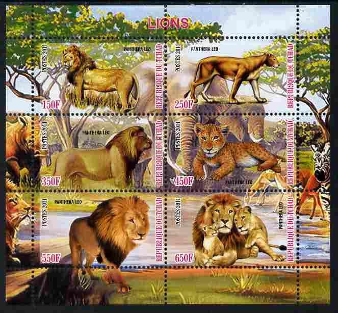 Chad 2011 Lions perf sheetlet containing 6 values unmounted mint