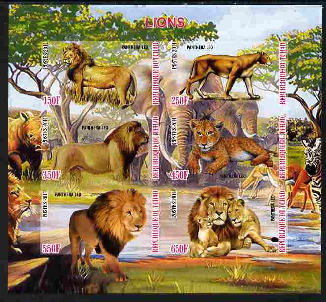 Chad 2011 Lions imperf sheetlet containing 6 values unmounted mint