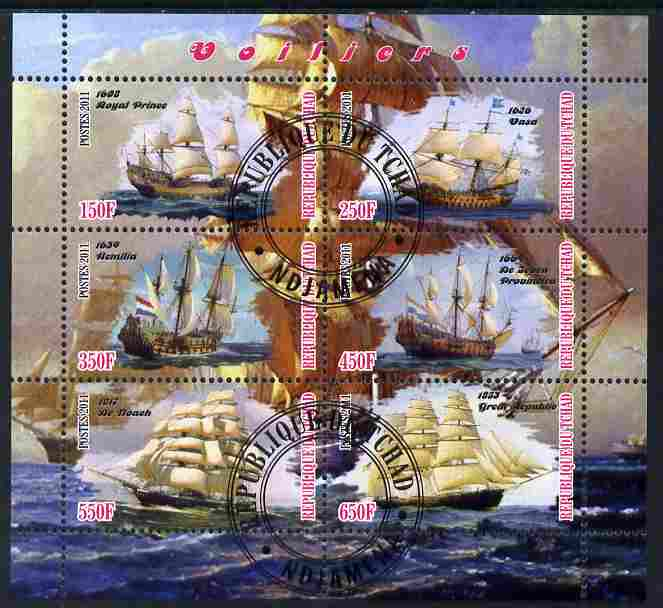 Chad 2011 Tall Ships perf sheetlet containing 6 values cto used