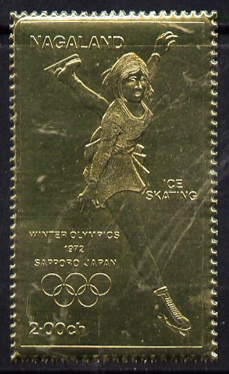 Nagaland 1972 Olympics (Ice Skating) 2ch value embossed in gold foil (perf) unmounted mint