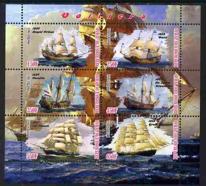 Chad 2011 Tall Ships perf sheetlet containing 6 values unmounted mint