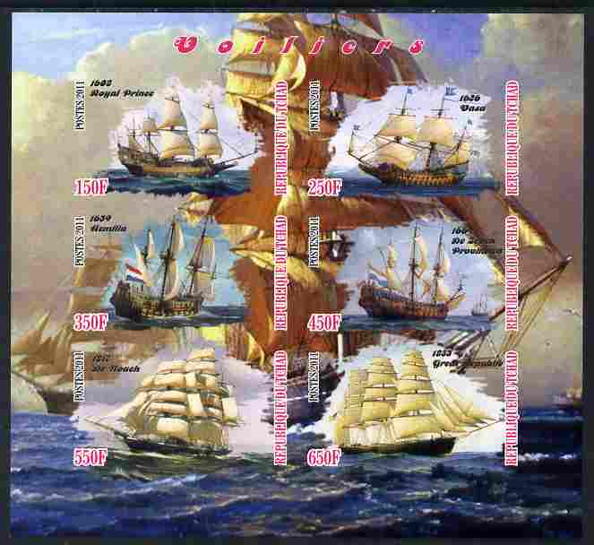 Chad 2011 Tall Ships imperf sheetlet containing 6 values unmounted mint