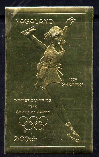 Nagaland 1972 Olympics (Ice Skating) 2ch value embossed in gold foil (imperf) unmounted mint
