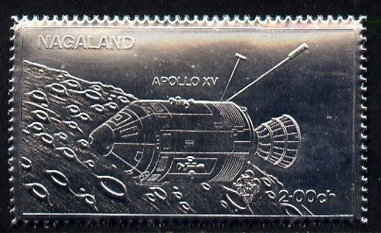 Nagaland 1972 Apollo 15 2ch value embossed in silver foil (perf) unmounted mint