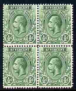 St Vincent 1913-17 KG5 1/2d green watermarked MCA block of 4 unmounted mint SG 108