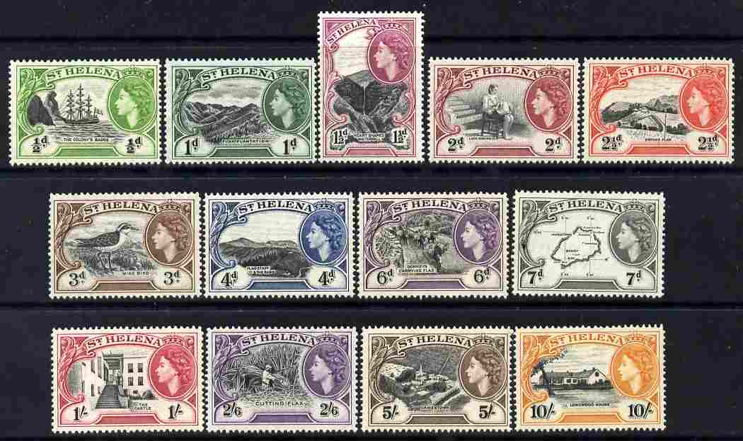 St Helena 1953-59 QEII definitive set complete 13 values  unmounted mint SG153-65