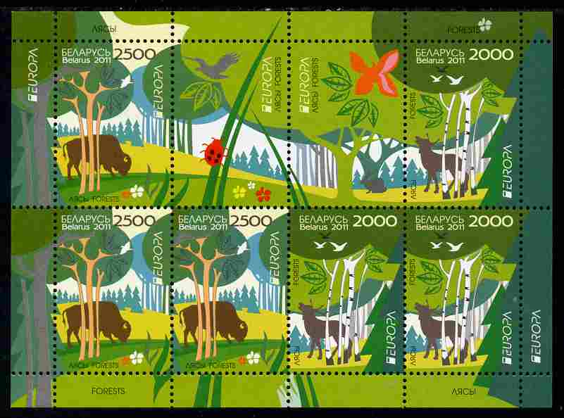 Belarus 2011 Europa - Animals of the Forest perf sheetlet containing 8 values unmounted mint