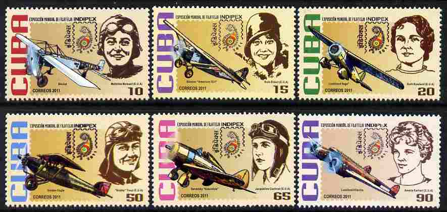 Cuba 2011 Indipex Stamp Exhibition - Aviators & their Planes perf set of 6 unmounted mint