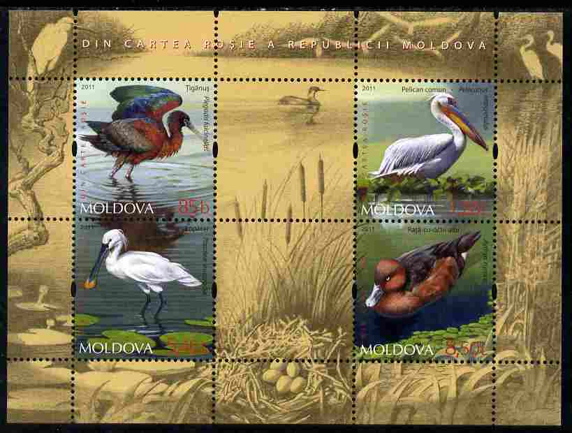 Moldova 2011 Water Birds perf sheetlet containing 4 values & 2 labels unmounted mint