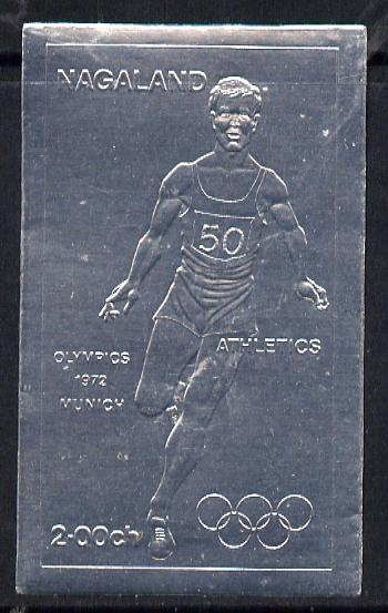 Nagaland 1972 Olympics (Athletics) 2ch value embossed in silver foil (imperf) unmounted mint