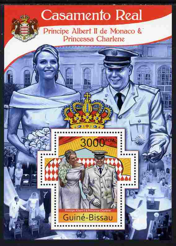 Guinea - Bissau 2011 Royal Wedding - Prince Albert of Monaco & Princess Charlene perf m/sheet containing Cross-shaped stamp unmounted mint