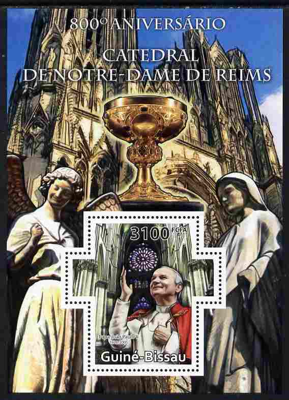 Guinea - Bissau 2011 800th Anniversary of Reims Cathedral perf m/sheet containing Cross-shaped stamp unmounted mint, stamps on cathedrals, stamps on popes, stamps on statues, stamps on religion, stamps on pope, stamps on shaped