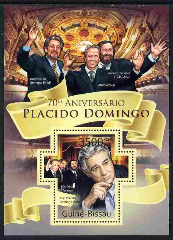 Guinea - Bissau 2011 70th Birth Anniversary of Placido Domingo perf m/sheet containing Cross-shaped stamp unmounted mint