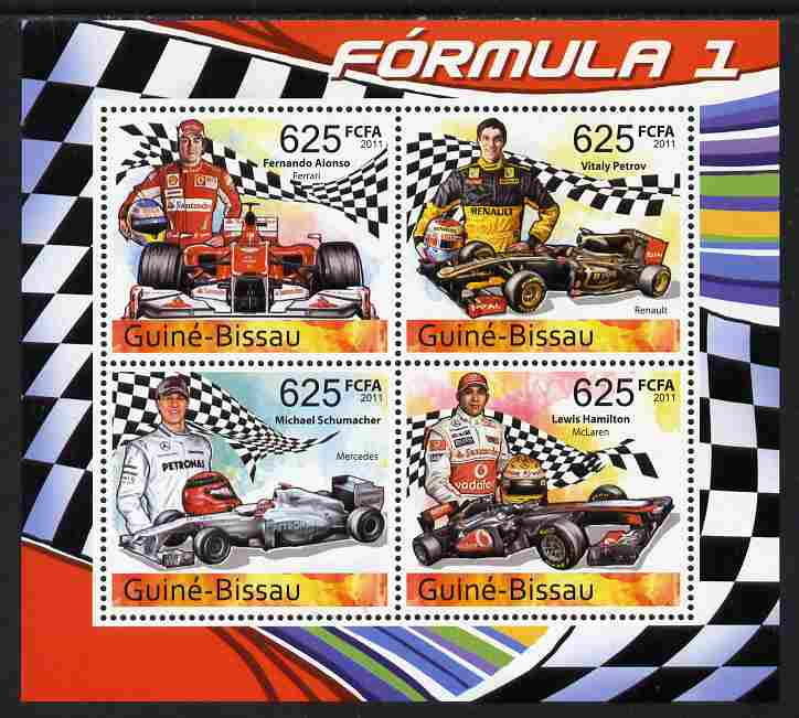 Guinea - Bissau 2011 Formula 1 perf sheetlet containing 4 values unmounted mint