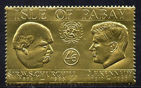 Pabay 1967 Churchill & Kennedy 4s6d value embossed in gold foil (perf) unmounted mint (Rosen PA64)