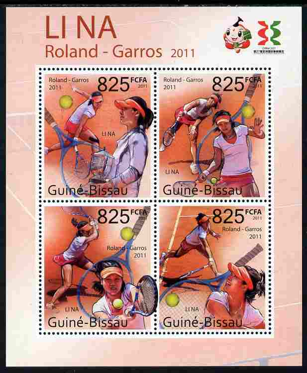 Guinea - Bissau 2011 Li Na (tennis) perf sheetlet containing 4 values unmounted mint