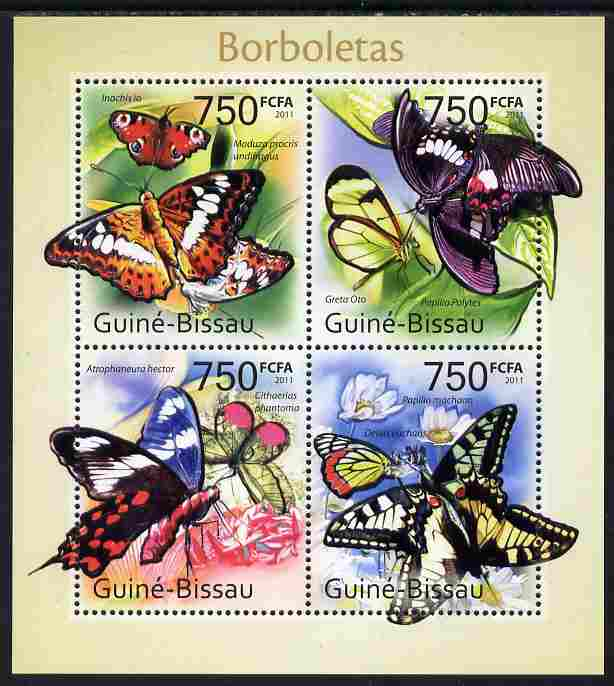 Guinea - Bissau 2011 Butterflies #1 perf sheetlet containing 4 values unmounted mint