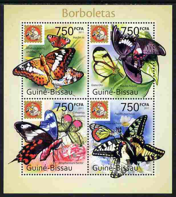 Guinea - Bissau 2011 Butterflies #2 perf sheetlet containing 4 values unmounted mint with Philanippon imprint