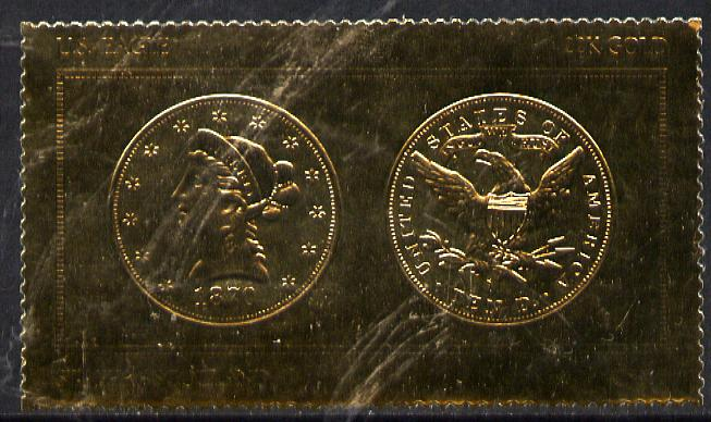 Staffa 1980 US Coins (1870 Eagle $10 coin both sides) on \A38 perf label embossed in 22 carat gold foil (Rosen 896) unmounted mint