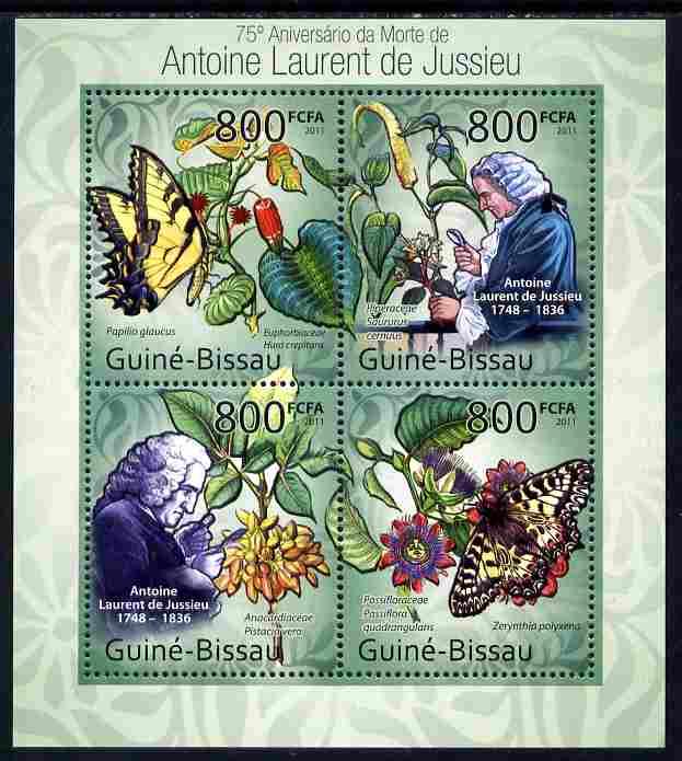 Guinea - Bissau 2011 75th death Anniversary of Antoine Laurent de Jussieu (botanist) perf sheetlet containing 4 values unmounted mint