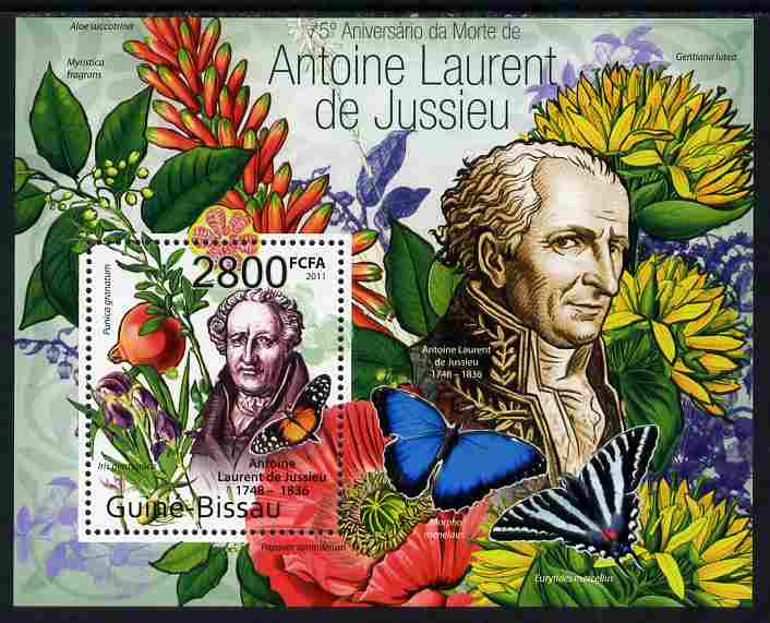 Guinea - Bissau 2011 75th death Anniversary of Antoine Laurent de Jussieu (botanist) perf m/sheet #1 unmounted mint