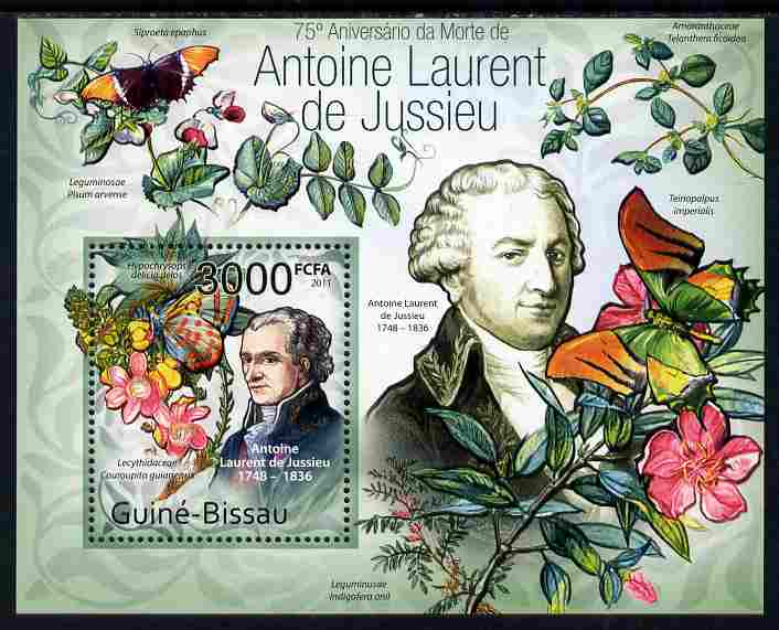 Guinea - Bissau 2011 75th death Anniversary of Antoine Laurent de Jussieu (botanist) perf m/sheet #2 unmounted mint