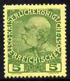 Austro-Hungarian Post Offices in the Turkish Empire 1908 60th Anniversary 5c green on yellow unmounted mint SG F17