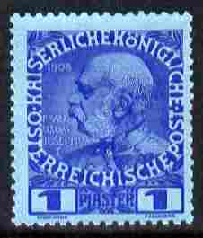 Austro-Hungarian Post Offices in the Turkish Empire 1908 60th Anniversary 1pi ultramarine on blue unmounted mint SG 79
