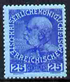 Austro-Hungarian Post Offices in the Turkish Empire 1914 60th Anniversary 25c ultramarine on blue unmounted mint SG F24