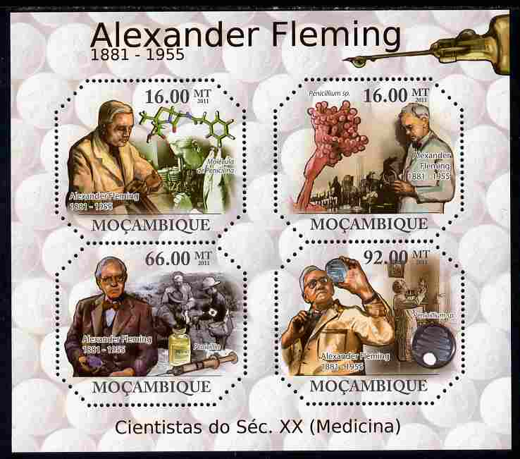 Mozambique 2011 Alexander Fleming perf sheetlet containing 4 values unmounted mint
