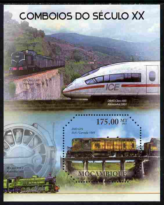 Mozambique 2011 20th Century Trains perf m/sheet unmounted mint