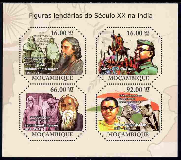 Mozambique 2011 Celebrities of India perf sheetlet containing 4 values unmounted mint