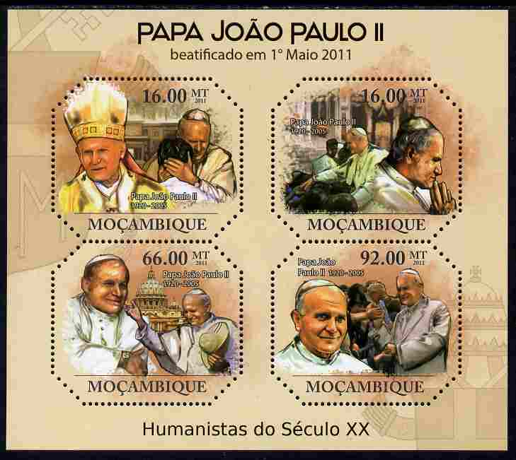 Mozambique 2011 Beatification of Pope John Paul II perf sheetlet containing 4 values unmounted mint