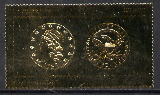 Staffa 1980 US Coins (1822 Half Eagle $5 coin both sides) on \A38 perf label embossed in 22 carat gold foil (Rosen 891) unmounted mint