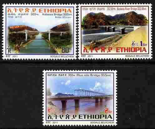 Ethiopia 2011 Bridges perf set of 3 values unmounted mint