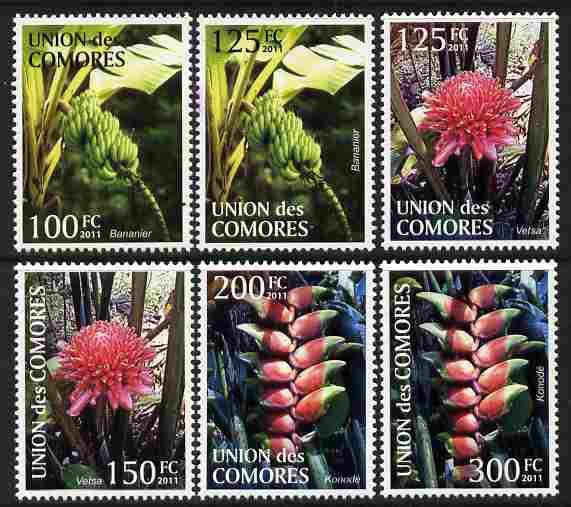 Comoro Islands 2011 Plants perf set of 6 values unmounted mint