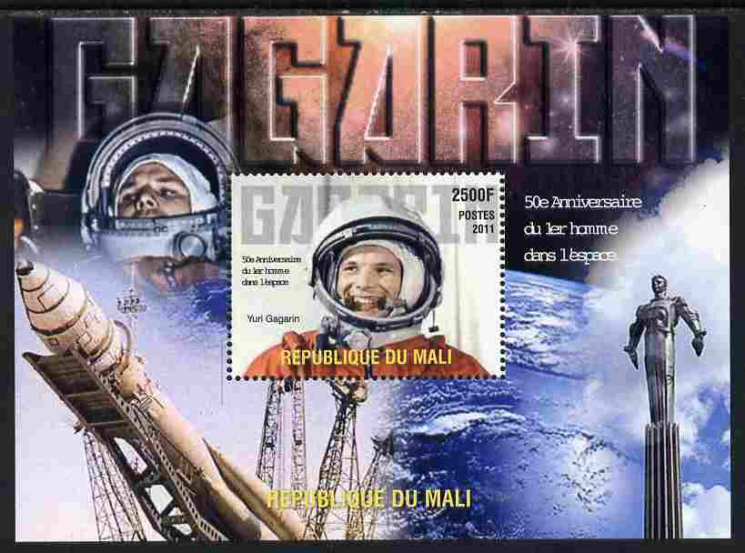 Mali 2011 50th Anniversary of First Man in Space - Yuri Gagarin perf m/sheet unmounted mint. Note this item is privately produced and is offered purely on its thematic appeal