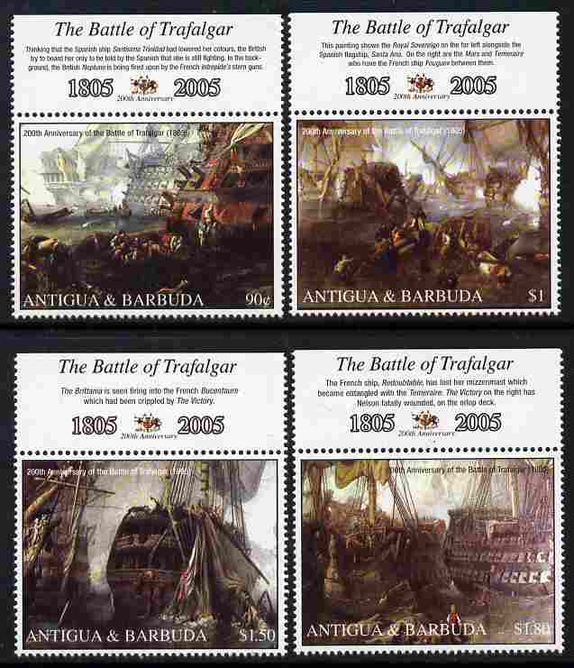 Antigua 2005 Bicentenary of Battle of Trafalgar perf set of 4 unmounted mint SG 3895-98