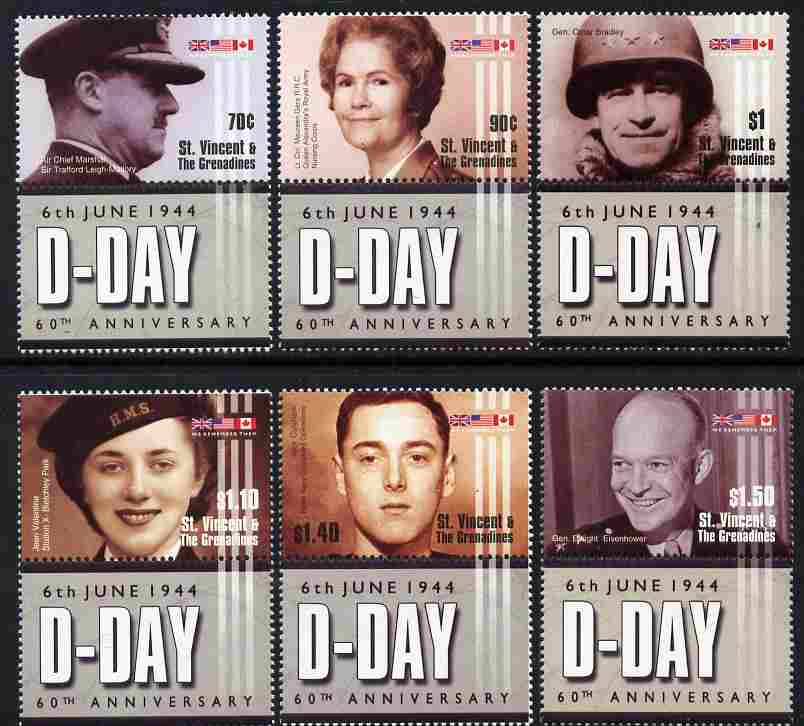 St Vincent - Grenadines 2004 60th Anniversary of D-Day perf set of 6 each se-tenant with label unmounted mint