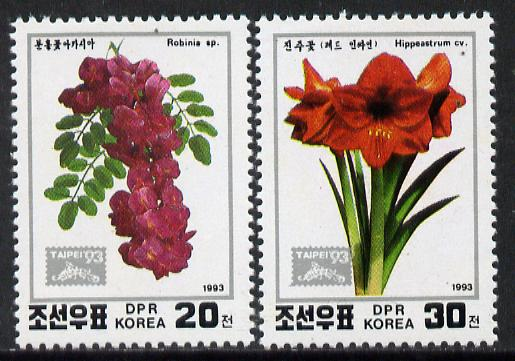 North Korea 1993 'Taipei '93' Stamp Exhibition (Flowers) perf set of 2 unmounted mint, SG N3331-32*