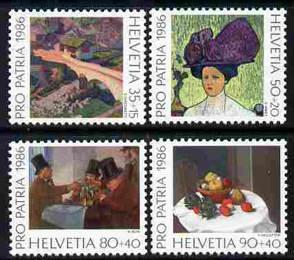 Switzerland 1986 Pro Patria - Paintings perf set of 4 unmounted mint SG 1098-1101, stamps on arts