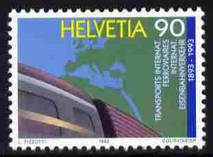 Switzerland 1992 Centenary of International Rail Carriage 90c unmounted mint SG 1256