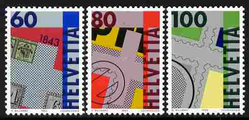 Switzerland 1993 150th Anniversary of Swiss Postage Stamps perf set of 3 unmounted mint SG 1259-61